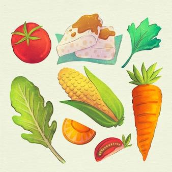 Coleção de comida vegetariana em aquarela