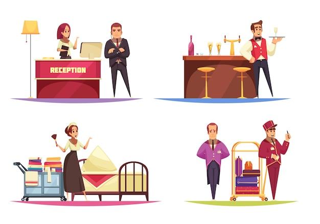 Coleção de composição do hotel com funcionários