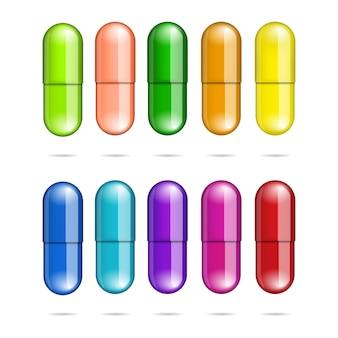 Coleção de comprimidos de remédios multicoloridos isolada