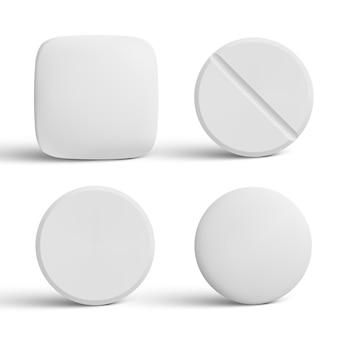 Coleção de comprimidos em forma de cápsula isolados no branco
