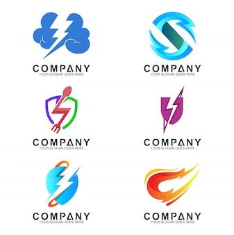 Coleção de conceito criativo logotipo trovão