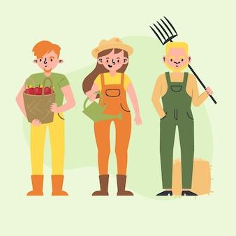 Coleção de conceito de agricultor