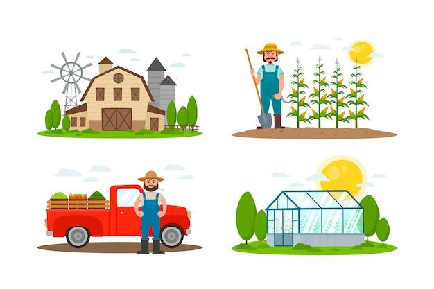 Coleção de conceito de agricultura biológica