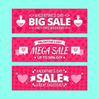 Coleção de conceito de banner de venda dia dos namorados