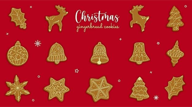 Coleção de conceito de biscoitos de gengibre de natal