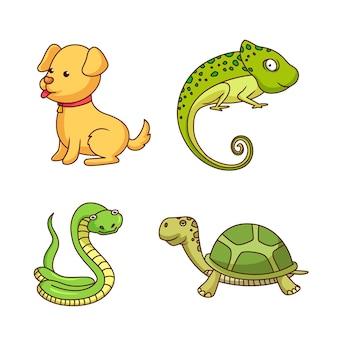 Coleção de conceito de diferentes animais de estimação