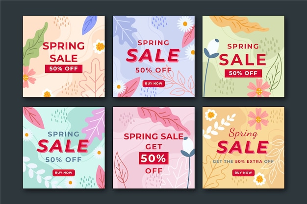 Coleção de conceito de postagem de instagram de venda de primavera
