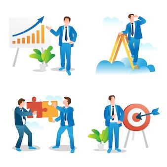 Coleção de conceitos de apresentação de negócios, visão de liderança, trabalho em equipe e estabelecimento de metas