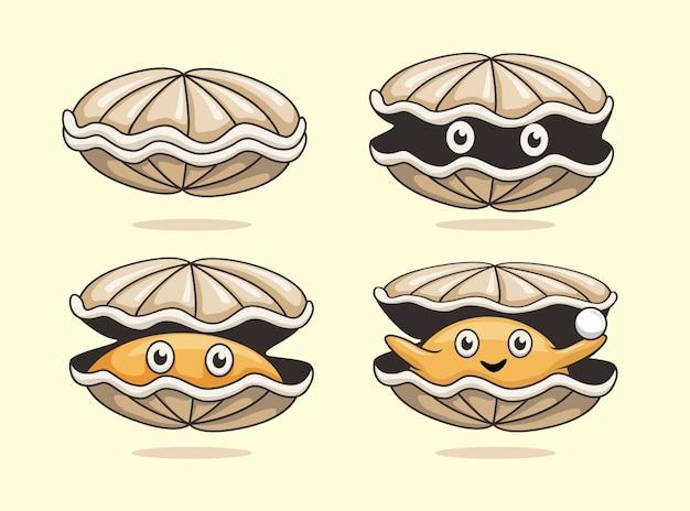 Coleção de concha do mar de desenhos animados de ostra