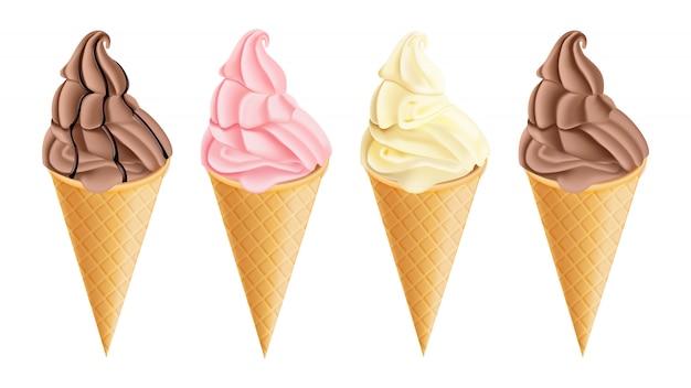 Coleção de cones de sorvete