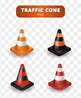 Coleção de cones de trânsito. conjunto isométrico de ícones para web design isolado no fundo branco. ilustração realista.