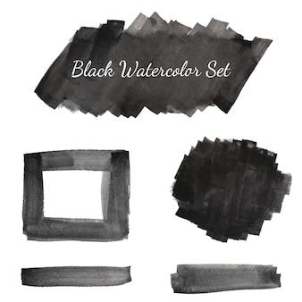 Coleção de conjunto aquarela preto
