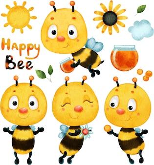 Coleção de conjunto bonito de primavera com abelhas desenhadas por aquarela.