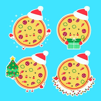 Coleção de conjunto bonito feliz engraçado natal pizza. personagem de desenho animado mão desenhada estilo ilustração. natal, conceito de ano novo