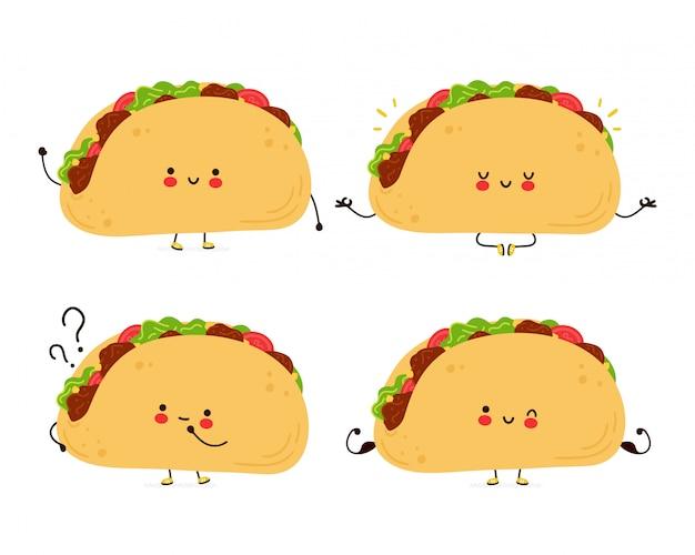 Coleção de conjunto bonito feliz engraçado taco. personagem de desenho animado desenhado à mão estilo ilustração
