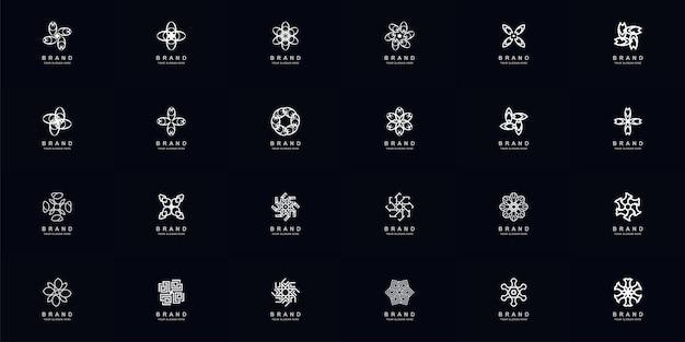 Coleção de conjunto completo de ornamento abstrato ou design de modelo de logotipo de flor