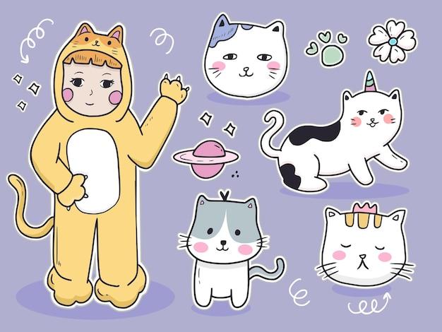 Coleção de conjunto de adesivos de animal de gato