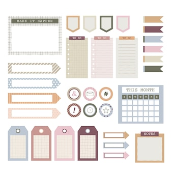 Coleção de conjunto de álbum de recortes do planejador