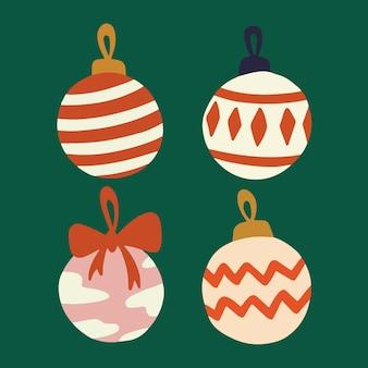 Coleção de conjunto de bolas de bolinhas de natal mídia social pós-ilustração de decoração de natal