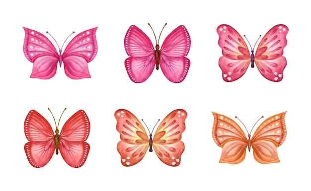 Coleção de conjunto de borboletas de primavera em aquarela pintada à mão