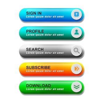 Coleção de conjunto de botões web lustrosa
