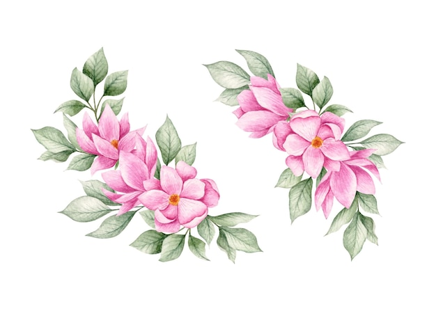 Coleção de conjunto de buquê de flores de magnólia em aquarela