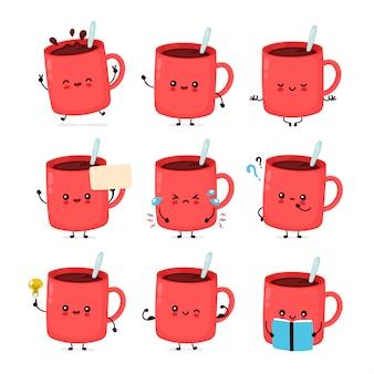Coleção de conjunto de caneca de café engraçado feliz fofo.