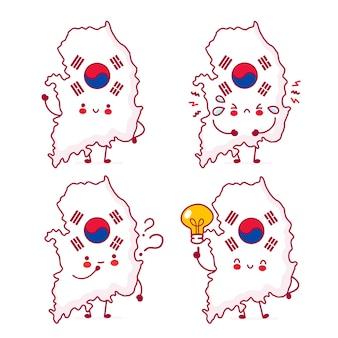 Coleção de conjunto de caracteres de bandeira e mapa da coreia do sul fofa feliz