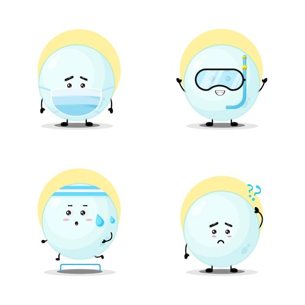 Coleção de conjunto de caracteres de bolha fofa