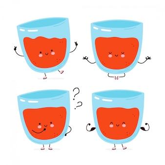 Coleção de conjunto de caracteres de suco de tomate bonito feliz. desenho de ilustração de personagem de desenho animado, estilo plano simples