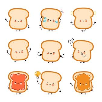 Coleção de conjunto de caracteres de torrada de pão feliz fofa e divertida