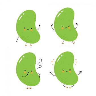 Coleção de conjunto de caracteres pepino feliz bonito. isolado no branco projeto de ilustração vetorial personagem dos desenhos animados, estilo simples simples pepino andar, treinar, pensar, meditar conceito