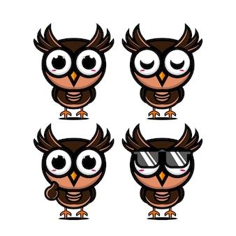 Coleção de conjunto de coruja fofa ilustração vetorial coruja mascote personagem estilo simples desenho animado