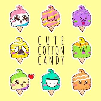 Coleção de conjunto de desenhos animados bonitos algodão doce vector