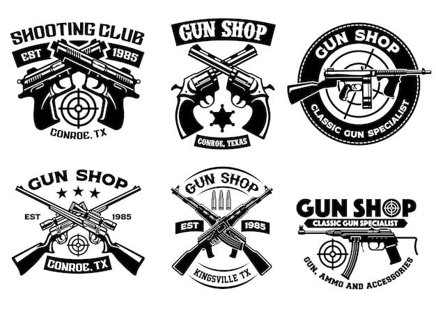 Coleção de conjunto de distintivos do clube de tiro