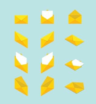 Coleção de conjunto de envelope com vários forma e conceito de estilo plano moderno isométrico