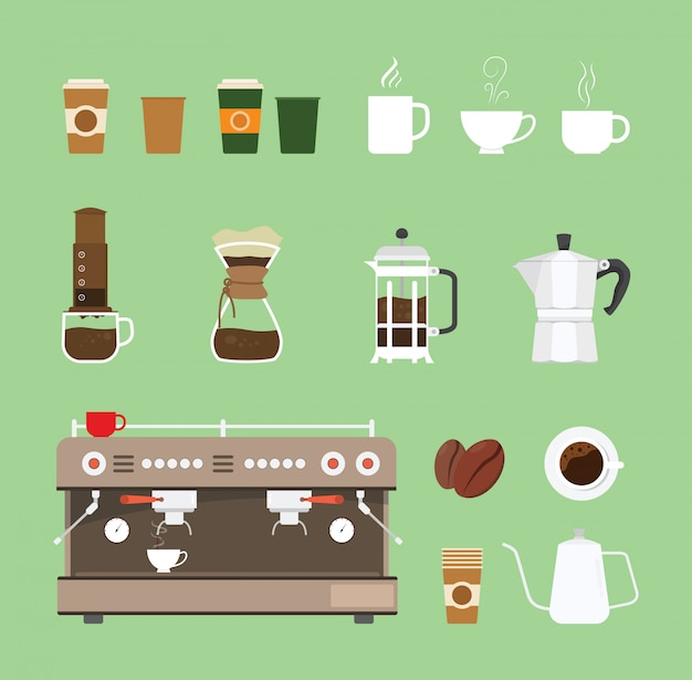 Coleção de conjunto de equipamentos de máquinas-ferramentas de café