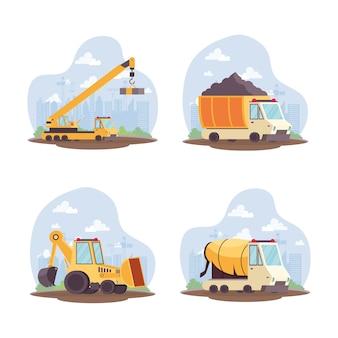 Coleção de conjunto de equipamentos de veículos de construção design de ilustração vetorial