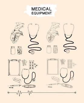 Coleção de conjunto de equipamentos médicos