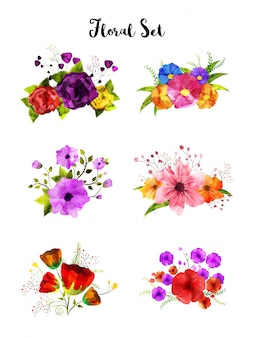 Coleção de conjunto de flores de aquarela, buquê artístico.