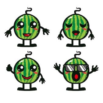 Coleção de conjunto de frutas de melancia fofa ilustração vetorial desenho de personagem mascote de melancia