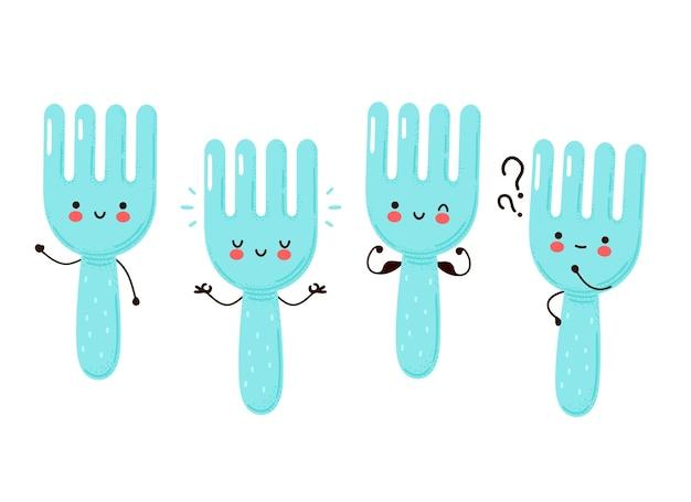 Coleção de conjunto de garfo engraçado feliz fofo. isolado no fundo branco.