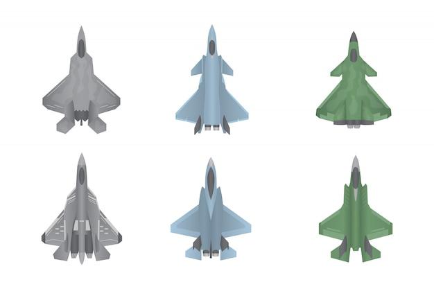 Coleção de conjunto de guerra de aviões de caça a jato