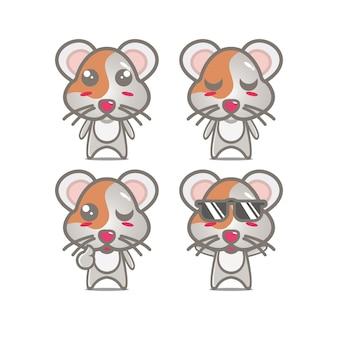 Coleção de conjunto de hamster fofo ilustração vetorial personagem de mascote de hamster estilo simples desenho animado