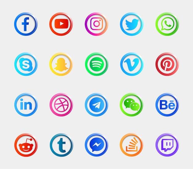 Coleção de conjunto de ícones de botões brilhantes de logotipo de mídia social