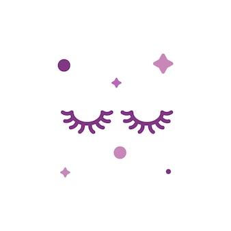 Coleção de conjunto de ícones de cílios de maquiagem fofa isolada