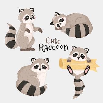 Coleção de conjunto de ícones de floresta de animais de floresta de guaxinim fofo