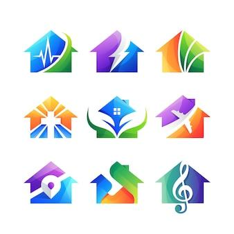 Coleção de conjunto de ícones de logotipo de casa gradiente