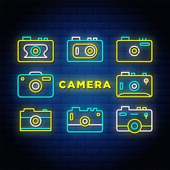 Coleção de conjunto de ícones de néon da câmera.