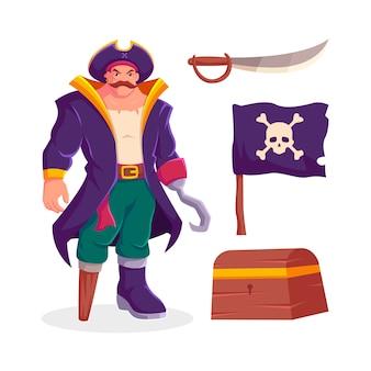 Coleção de conjunto de ícones de pirata